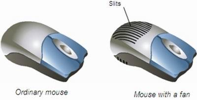 Компьютерная мышь с введением вентилятора